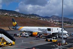 Thomas Cook OY-TCE (Steenjep) Tags: madeira portugal ferie holiday urlaub funchalairport airplane airfield runway truck landscape sky thomascookairlines thomascook airbus a321 oytce