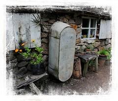 The Old Tin Bath (Audrey A Jackson) Tags: canon60d blistshill ironbridge livingmuseum history tinbath cottage window plant flower