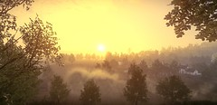 """""""New day"""" (L1netty) Tags: thechineseroom playstationmobile everybodysgonetotherapture pc games gaming reshade screenshot nature outdoor color 4k videogame green landscape scenery yellow sun houses field morning"""