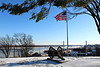 Cannon and Flag at Fort A Snowy Winter 1.17.18 (Cape Girardeau Convention and Visitors Bureau) Tags: winter snow civil war flag river downtown