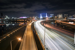Interstate 5 (Curtis Gregory Perry) Tags: portland oregon freeway interstate 5 five night long exposure convention center ramp road highway willamette river car traffic trail movement motion blur nikon d810 24mm