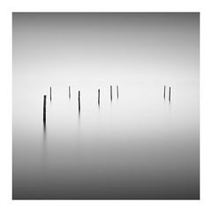 Simplicity I (Marco Maljaars) Tags: water seascape poles mood longexposure le blackandwhite bw marcomaljaars ijsselmeer fishing sky minimalism monochrome