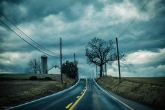 (Jen MacNeill) Tags: rural barn farm lancaster county pa pennsylvania rain storm weather winter road drive driving tree yellow blue clouds jennifermacneill