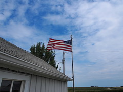 P8131013 (photos-by-sherm) Tags: midwest iowa farm farmstead barrels bins garages sheds barns summer sky fields corn