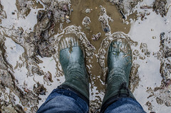 Rubber boots in the mud. Man walking in rubber boots through the mud. Georgia. The Republic of Abkhazia (ivan_volchek) Tags: style closeup jeans water priming tin mud noses rubber boots stone wear visiting travel wall urban footwear people close up nature pattern texture outdoors foot old dirty abkhazia