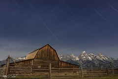 John Moulton Barn_27A1166 (Alfred J. Lockwood Photography) Tags: alfredjlockwood nature landscape building johnmoultonbarn moonlight startrails rockymountains grandteton middleteton teewinot summer nightsky nightscape wyoming