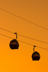 Wire to wire (snowyturner) Tags: porto cable cars wires crossed river suspended sunset glow silhouettes