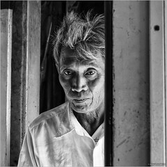 People of Thailand (6) (John Riper) Tags: johnriper street photography straatfotografie square vierkant bw black white zwartwit mono monochrome kanchanaburi thailand candid john riper xt2 fujifilm xf 18135 man portrait