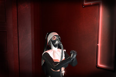 Dystopic Reverence (Xan Baran) Tags: secondlife nun inside worship pray prayers cross habit mossu sp saltpepper gloves lemporio bento collar necklace sexy dystopic dystopia gasmask gas mask pose xans backdrop anxiety lelutka maitreya glamaffair