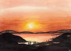 The Last Light (Sonia Aguiar (Mallorca)) Tags: landscape watercolor watercolour acuarela aquarell aquarelle