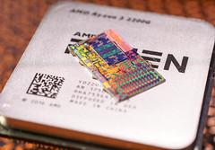 AMD@14nm@Zen(Zeppelin)@Raven_Ridge@Ryzen_3_2200G@YD2200C5M4MFB_AN_1750SUT_9HA7534X70147__DSC09595 (FritzchensFritz) Tags: macro makro amd raven ridge ryzen 3 2200g quad 4 core ccx vega cpu 14nm chip die shot silicon ceramic keramik gpupackage package gpudie dieshots dieshot waferdie wafer wafershot vintage open cracked size