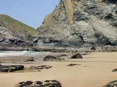 Bedruthan Steps. Low Tide. Nikon E800. (Robert.Pittman) Tags: nikone800 sea sand rocks cliff beach water sky landscape rock lowtide bedruthan carnewas newquay cornwall gb uk