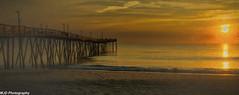 Warm Pier Sunrise (mjdrhd) Tags: beach sand seascape morning golden hour pier mist fog outerbanks