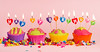 Happy birthday (xjenunhz57) Tags: happy birthday candles burning pink cupcakes cup cakes sweet food colorful four marzipan confetti party row text