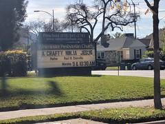 Crafty Ninja Jesus sign, church, Burbank, California, USA (gruntzooki) Tags: burbank sign signs california cali cal ca usa religion