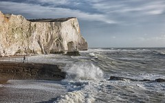 Seaford stack (sussexscorpio) Tags: 2018 beach eastsussex january seaford seafordhead seafront sussex sussexscorpio chalk cliffs groyne hightide sea seashore splash stack water waves southdownsnationalpark railings people person coast seascape whitecliffs sky clouds landscape tide pebbles spray movement