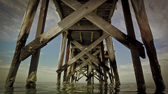 Largs North Pier South Australia (davebrab) Tags: water ocean sea sky land blue pier warf wood clouds sand australia adelaide photo picture camera