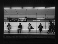 Underground Waiting (Andreas Koppe) Tags: bw blackandwhite olympus window monochrome people street xz2 train subway barcelona spain