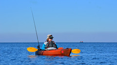 TAKIN A BREAK (EXPLORED) (Wolf Creek Carl) Tags: kayak paddle fishing portstjobay ocean water outdoors nature horizon blue florida