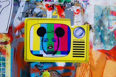 Madonna in glorious colours and mouse ears (PDKImages) Tags: manchesterstreetart street art manchester streets streetart urban posterart pasteup streetscenes madonna