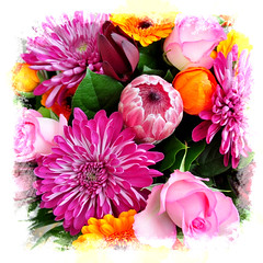 bright pink patch of flowers for you (tonnycdl) Tags: square flowers pinkflowers bouquetsquare brightcolour