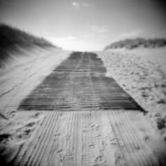 Off Season #36 (LowerDarnley) Tags: holga ipswich ma cranebeach winter offseason beach sand tiretracks mat dunes empty