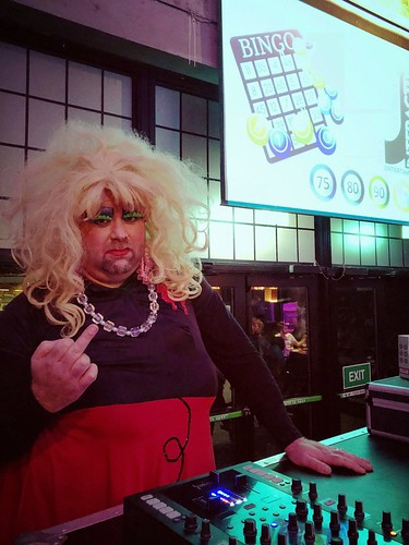 The slightly hirsute Ms Dixie Normous is treating the students at NUIG to sex toy bingo this evening.