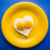 two hearty eggs (auntneecey) Tags: twoheartyeggs eggs yellow blue 365the2018edition 3652018 day45365 14feb18 food flickrfriday flickr myheartwillgoon bemyvalentine odc