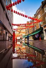 Chinatown Puddle Reflection (mikkelfrimerrasmussen) Tags: london chinatown chinesenewyear lunarnewyear newyear wideangle desktop background ultrawideangle puddle reflection reflections