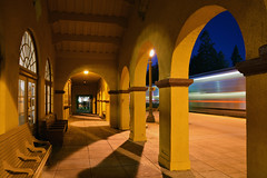 282 arriving Burlingame (CN Southwell) Tags: caltrain blue hour night light streak burlingame california