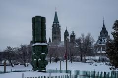 DSC_0852 (Copy) (pandjt) Tags: winterphotography snow urbanphotography streetphotography ottawa ontario threewatchmen jimhart haida sculpture bronze publicart parliamentbuildings