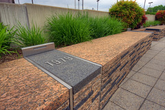 Pentagon Memorial 1979 plaque (cmfgu) Tags: hdr highdynamicrange pentagonmemorial pentagon arlingtoncounty arlington virginia va northernvirginia americanairlinesflight77 september112001 911 september11th monument