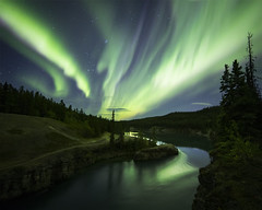 Spirits Over the River (andrewpmorse) Tags: yukon yukonterritory yukonriver whitehorse northerncanada northernlights aurora auroraborealis night nightsky nightlights longexposure river milescanyon canon rokinon14mmf28 5dmarkiv sky spirit trees canyon magic