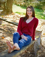 Barefoot in the Park (R.A. Killmer) Tags: kelsey ripped jeans style teen barefoot seniorphotos senior southpark beauty bethelpark bench park cute smile pose portrait
