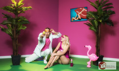 Miami Vice (eddiemeijer) Tags: girl man photoshoot miami vice smaugy pink over top sheena chaim doorhof david lachapelle flamingo white bath suite model canon 7dmii workshop palm gun plastic glamour