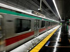 Tokyo Scene 14 (luckyandbird) Tags: train snowfalls platform night snapshot iphone tokyo japan