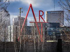ART in Winter (tim.perdue) Tags: columbus museum art cma cmoa mycma ohio sign sculpture installation ccad college design red letters huge giant sky clouds buildings skyline downtown city trees bare winter