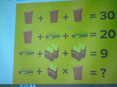 DSC00700 (classroomcamera) Tags: projector school classroom math fast food french fries cheeseburger 30 20 9 question unknown problem riddle logic mathematics add addition multiply multiplication