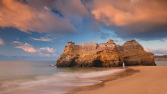 Time And Tide (Adam West Photography) Tags: adamwest algarve beach capturethemoment cliff cliffs composition contrejour dawn foam goldenhour hole longexposure movement portugal praia praiadoscareanos rock sea silhouette stack stone sun sunburst sunrise sunstar waves window