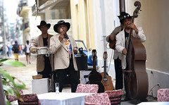 Jazz in the Street (Poocher7) Tags: people portrait male band jazz outdoors live music livemusic table chairs bass bongoes miracas guitars singing playing performing entertainers havana cuba carribean streetphotography blackhats sunglasses jackets blackpants men tshirts amigos