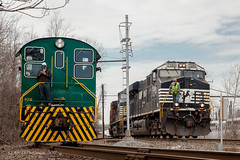 Old Meets New @ Morrisville, PA (Darryl Rule's Photography) Tags: 102 2018 baldwin blueridgewoodproducts buckscounty csao courier courierbuilding ds44750 diesel diesels february freight freightcar freighttrain freighttrains gevo interchange january ktc local lumber mixedfreight morrisvilleyard ns norfolksouthern pa pw1 pennsylvania railroad railroads slrs sms smslines steel sun sunny train trains winter