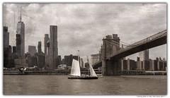 Sailing Boat in New York Circa 2017 (Gordon McCallum) Tags: sailboat eastriver brooklynbridge oneworldtradecenter newyork nyc agedphotograph sony sonya6000 sonye1855mmlens