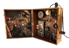 electroencephalograph (Vincent Mattina (aka FLUX)) Tags: electroencephalograph man machine computer assemblage digital steampunk light lightbulb gears wires tape box wood