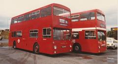 Acq. photo DM2643 [THX643S] & DMS 2170 [OJD170R] c.1984/5 (busmothy) Tags: dms d dm leyland daimler fleetline parkroyal mcw londontransport hantsanddorset hampshirebus ojd170r thx643s