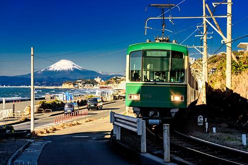 Enoshima Electric Railway 1000 type train on the Shichirigahama beach in Kamakura