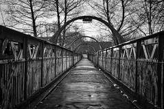 Oldham Mumps Lancashire 18th February 2018 (loose_grip_99) Tags: oldham manchester lancashire northwest england uk bridge railway railroad rail victorian cast iron lancashireyorkshirerailway blackwhite noiretblanc footbridge february 2018