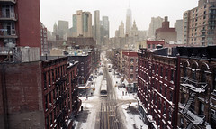 View from the Manhattan Bridge (neilsonabeel) Tags: nikonfm2 nikon film analogue newyorkcity manhattan snow winter 24mm bridge
