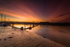 Sunrise - Shoreham, Sussex (E_W_Photo) Tags: shoreham sussex england uk sunrise river water reflection boat bridge pink clouds canon 80d sigma 1020mm adur adurferrybridge leefilters