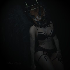 Clarity in Kerosene (Arwen Clarity) Tags: avi avitar secondlife second life 2ndlife 2life demon demoness ears piercing lelutka maitreya lingerie wings horns feathers black lace tattoo pose blueberry fantasy