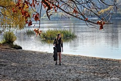 Autumn Girl (Girl by the Water's Edge) (t-maker) Tags: girl woman young female ukrainian beautiful beauty leg legs knee knees dress minidress jacket leather model posing edge water ripple ripples bank riverbank beach sand nature tree grove copse wood woods forest grass weed bush shrub undergrowth brushwood thicket twig branch leaves greenery vegetation verdure rush reed cane track footprint footstep river dnieper dnipro autumn fall portrait spontaneous emotional glance look reflection gleam sheen light kyiv kiev ukraine canon eos 550d